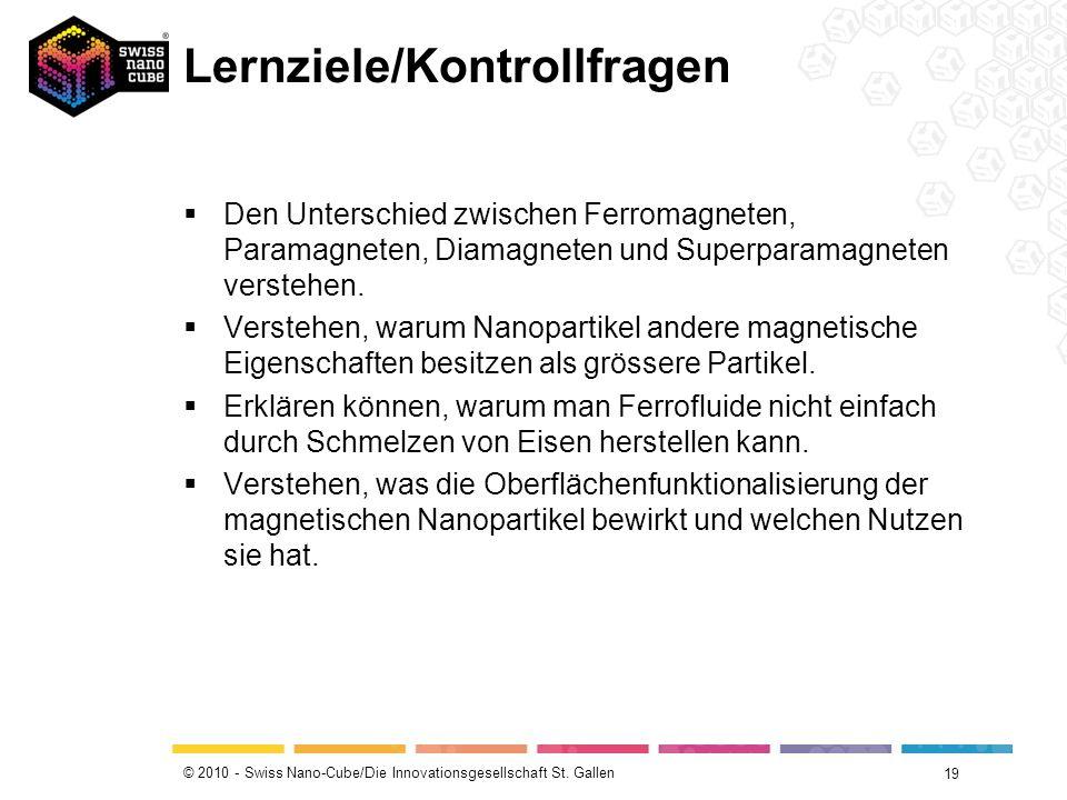 © 2010 - Swiss Nano-Cube/Die Innovationsgesellschaft St. Gallen Lernziele/Kontrollfragen Den Unterschied zwischen Ferromagneten, Paramagneten, Diamagn