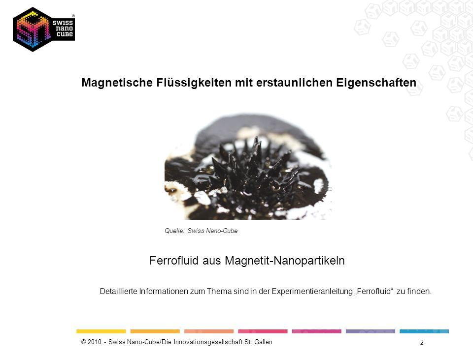 © 2010 - Swiss Nano-Cube/Die Innovationsgesellschaft St. Gallen Magnetische Flüssigkeiten mit erstaunlichen Eigenschaften 2 Quelle: Swiss Nano-Cube Fe