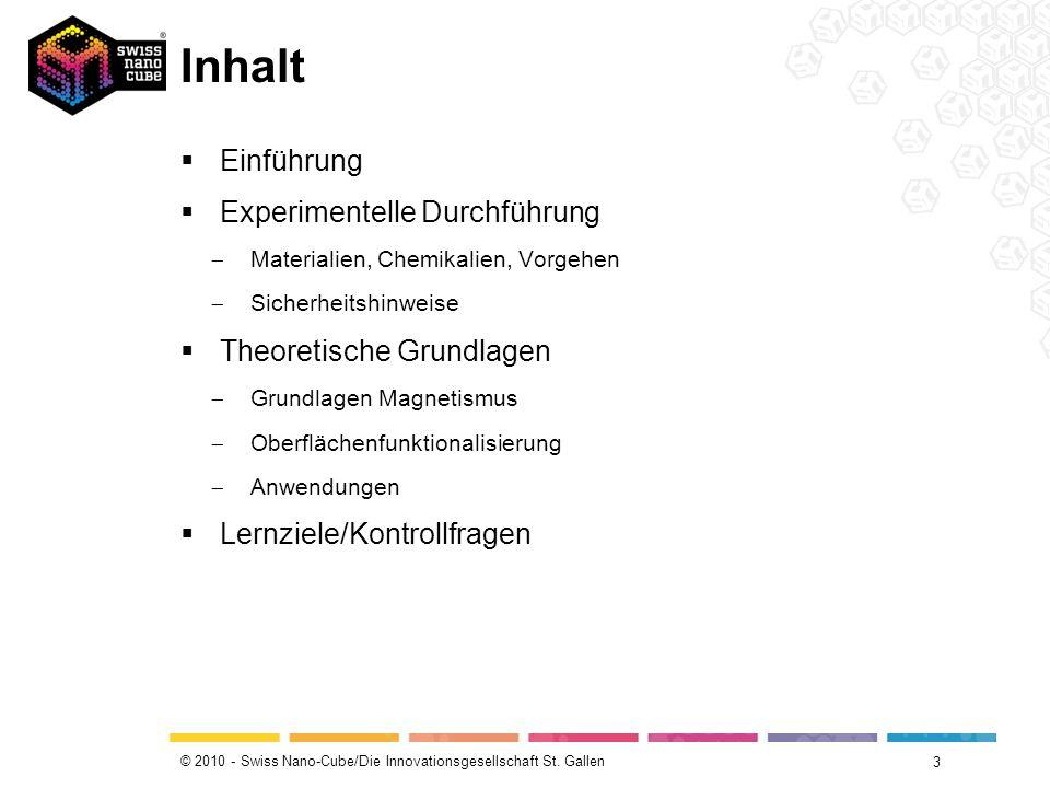 © 2010 - Swiss Nano-Cube/Die Innovationsgesellschaft St. Gallen Inhalt 3 Einführung Experimentelle Durchführung Materialien, Chemikalien, Vorgehen Sic