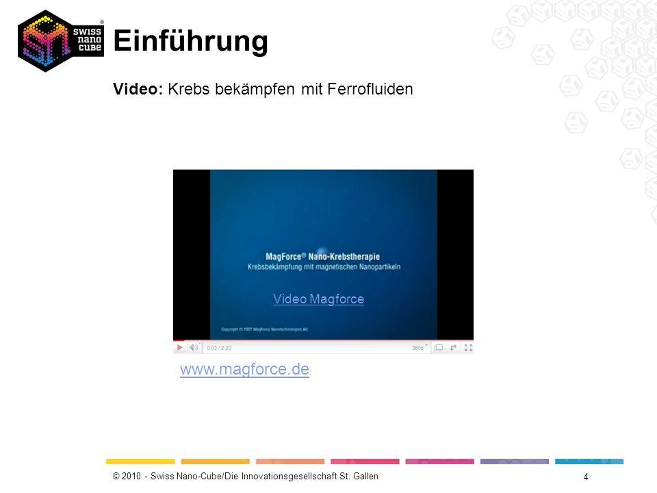 © 2010 - Swiss Nano-Cube/Die Innovationsgesellschaft St. Gallen Einführung 4 Video: Krebs bekämpfen mit Ferrofluiden Video Magforce www.magforce.de