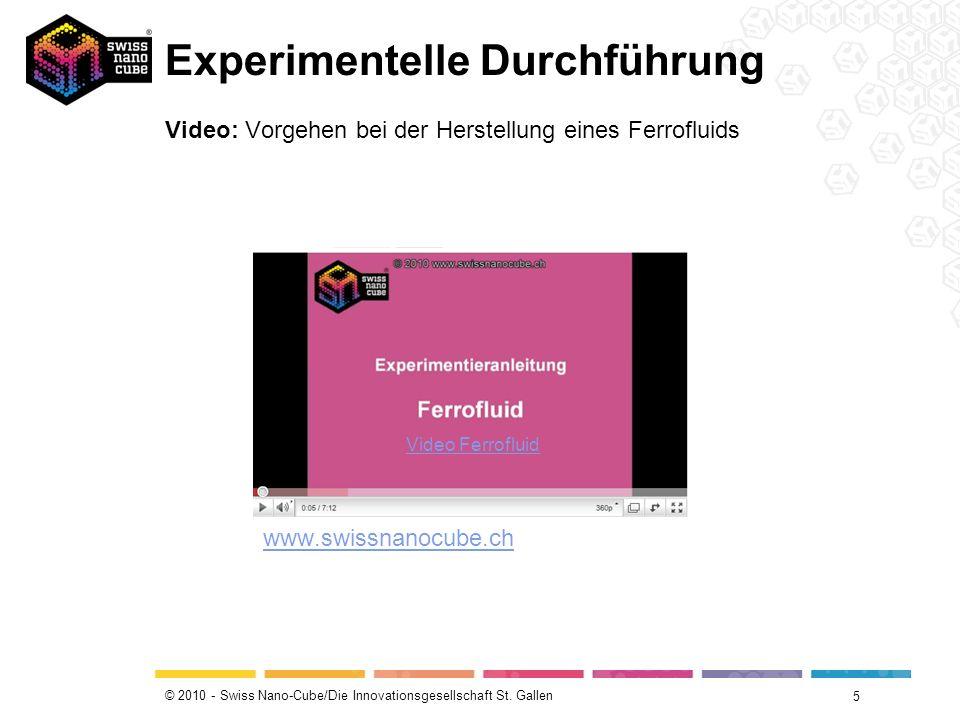 © 2010 - Swiss Nano-Cube/Die Innovationsgesellschaft St. Gallen Experimentelle Durchführung 5 Video: Vorgehen bei der Herstellung eines Ferrofluids Vi