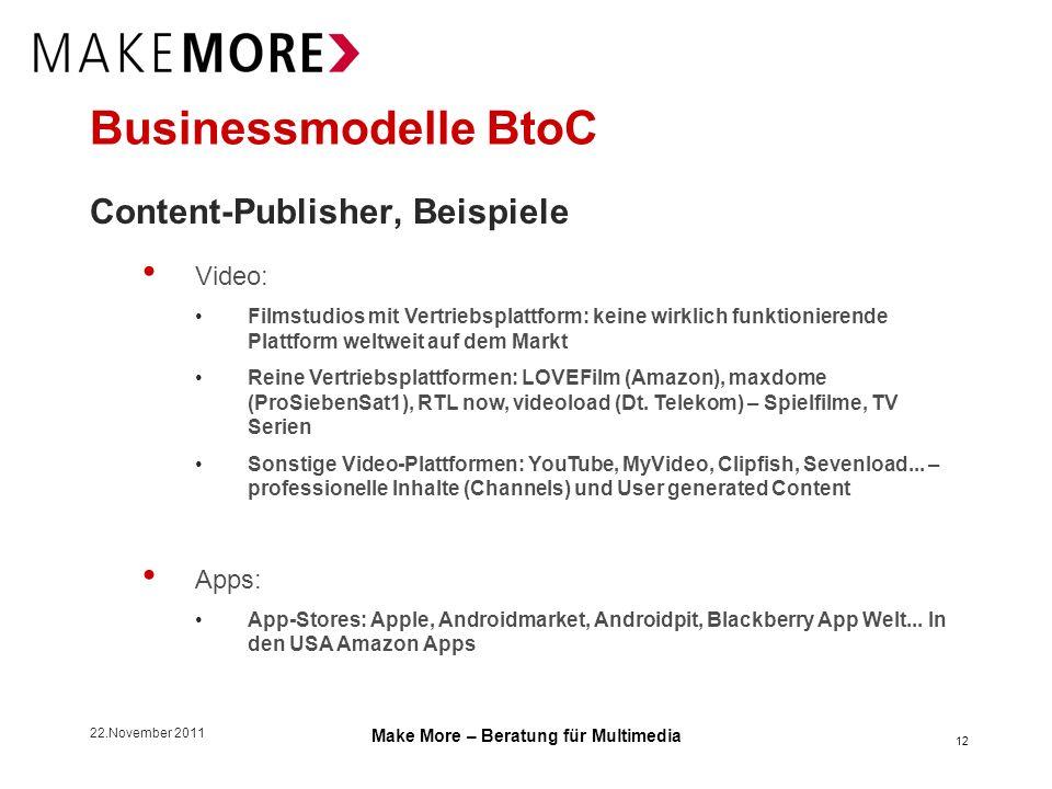 22.November 2011 Make More – Beratung für Multimedia Businessmodelle BtoC Content-Publisher, Beispiele Video: Filmstudios mit Vertriebsplattform: kein