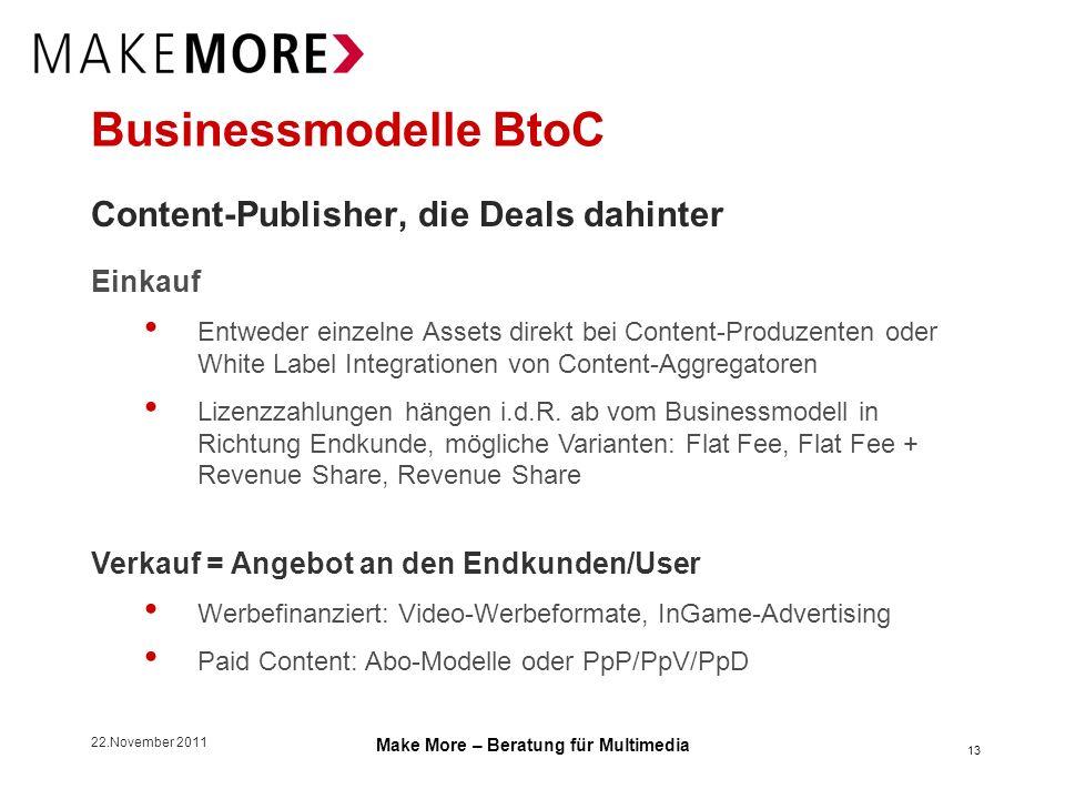 22.November 2011 Make More – Beratung für Multimedia Businessmodelle BtoC Content-Publisher, die Deals dahinter Einkauf Entweder einzelne Assets direk