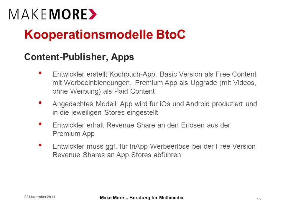 22.November 2011 Make More – Beratung für Multimedia Kooperationsmodelle BtoC Content-Publisher, Apps 16 Entwickler erstellt Kochbuch-App, Basic Versi