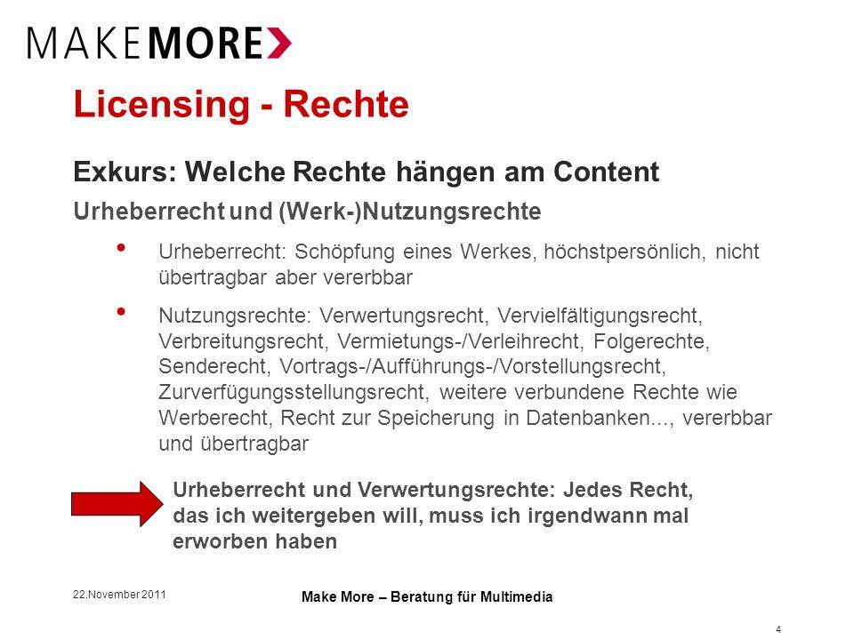 22.November 2011 Make More – Beratung für Multimedia Licensing - Rechte Exkurs: Rechtssituation außerhalb Österreichs Deutschland Für jede/n schon bekannte/n technische Plattform, inhaltliche Plattform, Verbreitungsweg, Nutzungsart muss das Recht gesondert im Vertrag benannt werden (Right of Use).