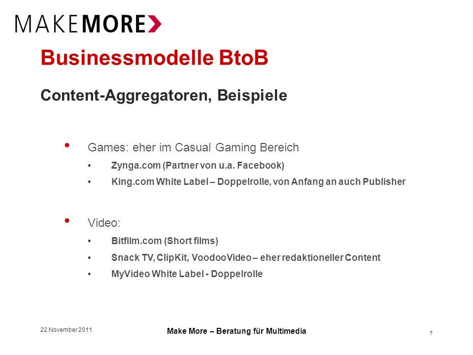 22.November 2011 Make More – Beratung für Multimedia Businessmodelle BtoB Content-Aggregatoren, die Deals dahinter Einkauf Einkauf von Nutzungsrechten bei Contentanbietern, exklusiv, nicht-exklusiv Entweder Zahlung von Flat Fee (eher bei Exklusivität), Mischmodell Flat Fee + Revenue Share, Revenue Share only 8 Syndizierung Verkauf von Nutzungsrechten an Publisher (integrierende Plattform) I.d.R.