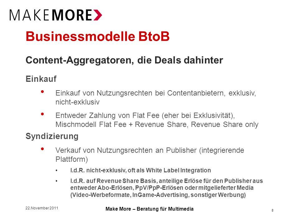 22.November 2011 Make More – Beratung für Multimedia Kooperationsmodelle BtoB Content-Aggregatoren, Beispiel Casual Games Entwickler programmiert Casual Game mit Single Player und Multi User Modus angedachtes Modell: Single Player Modus for free, Multi User Modus als Pay Format (Premium), entweder im Rahmen eines Abos oder als PpP Game wird nicht-exklusiv an King.com lizensiert mit Recht zur Sublizensierung, Quellcode verbleibt beim Entwickler King.com ist bei GMX.net als Games Partner integriert Programmierer erhält Royalties auf Basis dessen, wie häufig sein Free Game bei GMX gespielt wurde und welche Erlöse durch den Verkauf der Premium-Version bei GMX erzielt wurden.
