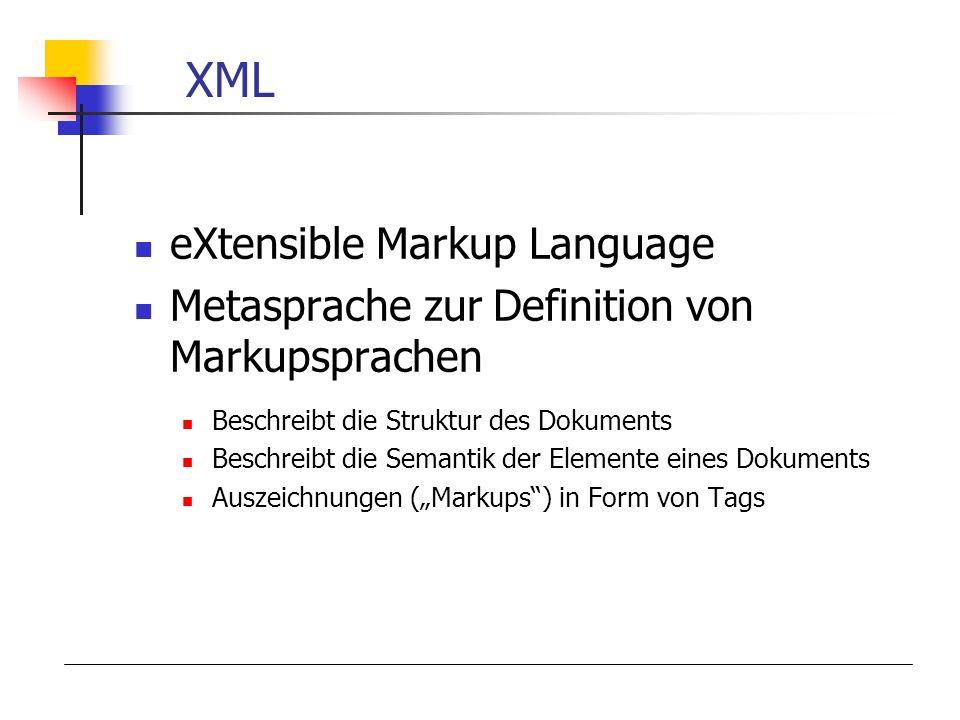 XML eXtensible Markup Language Metasprache zur Definition von Markupsprachen Beschreibt die Struktur des Dokuments Beschreibt die Semantik der Elemente eines Dokuments Auszeichnungen (Markups) in Form von Tags