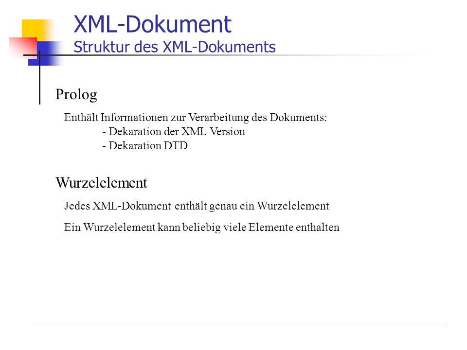 XML-Dokument Struktur des XML-Dokuments Prolog Enthält Informationen zur Verarbeitung des Dokuments: - Dekaration der XML Version - Dekaration DTD Wurzelelement Jedes XML-Dokument enthält genau ein Wurzelelement Ein Wurzelelement kann beliebig viele Elemente enthalten