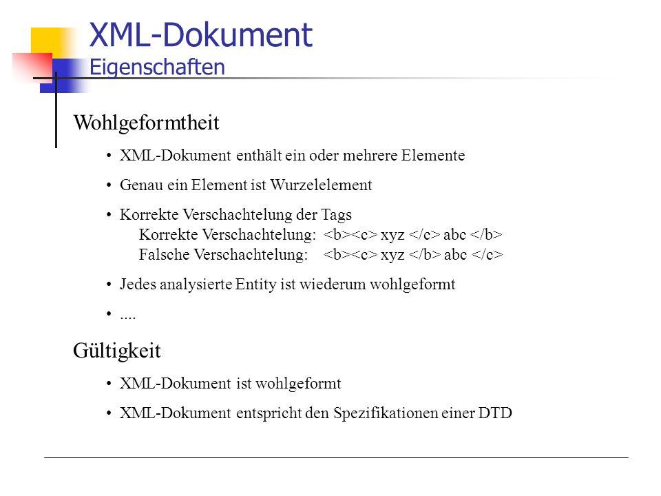 XML-Dokument Eigenschaften Wohlgeformtheit XML-Dokument enthält ein oder mehrere Elemente Genau ein Element ist Wurzelelement Korrekte Verschachtelung der Tags Korrekte Verschachtelung: xyz abc Falsche Verschachtelung: xyz abc Jedes analysierte Entity ist wiederum wohlgeformt....