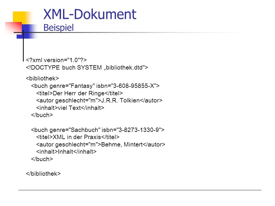 XML-Dokument Beispiel Der Herr der Ringe J.R.R. Tolkien viel Text XML in der Praxis Behme, Mintert Inhalt