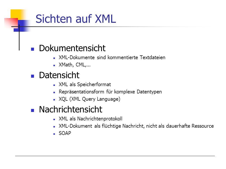 Sichten auf XML Dokumentensicht XML-Dokumente sind kommentierte Textdateien XMath, CML,... Datensicht XML als Speicherformat Repräsentationsform für k