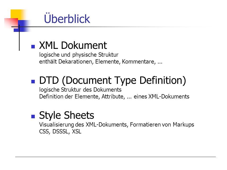 Überblick XML Dokument logische und physische Struktur enthält Dekarationen, Elemente, Kommentare,...