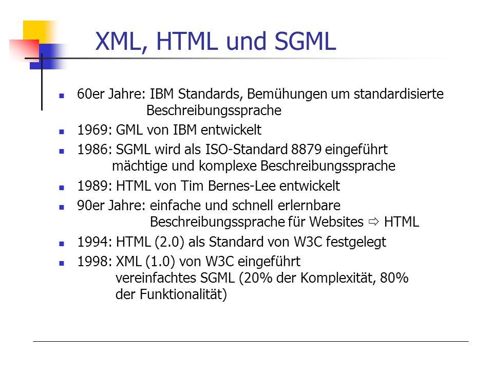 XML, HTML und SGML 60er Jahre: IBM Standards, Bemühungen um standardisierte Beschreibungssprache 1969: GML von IBM entwickelt 1986: SGML wird als ISO-Standard 8879 eingeführt mächtige und komplexe Beschreibungssprache 1989: HTML von Tim Bernes-Lee entwickelt 90er Jahre: einfache und schnell erlernbare Beschreibungssprache für Websites HTML 1994: HTML (2.0) als Standard von W3C festgelegt 1998: XML (1.0) von W3C eingeführt vereinfachtes SGML (20% der Komplexität, 80% der Funktionalität)