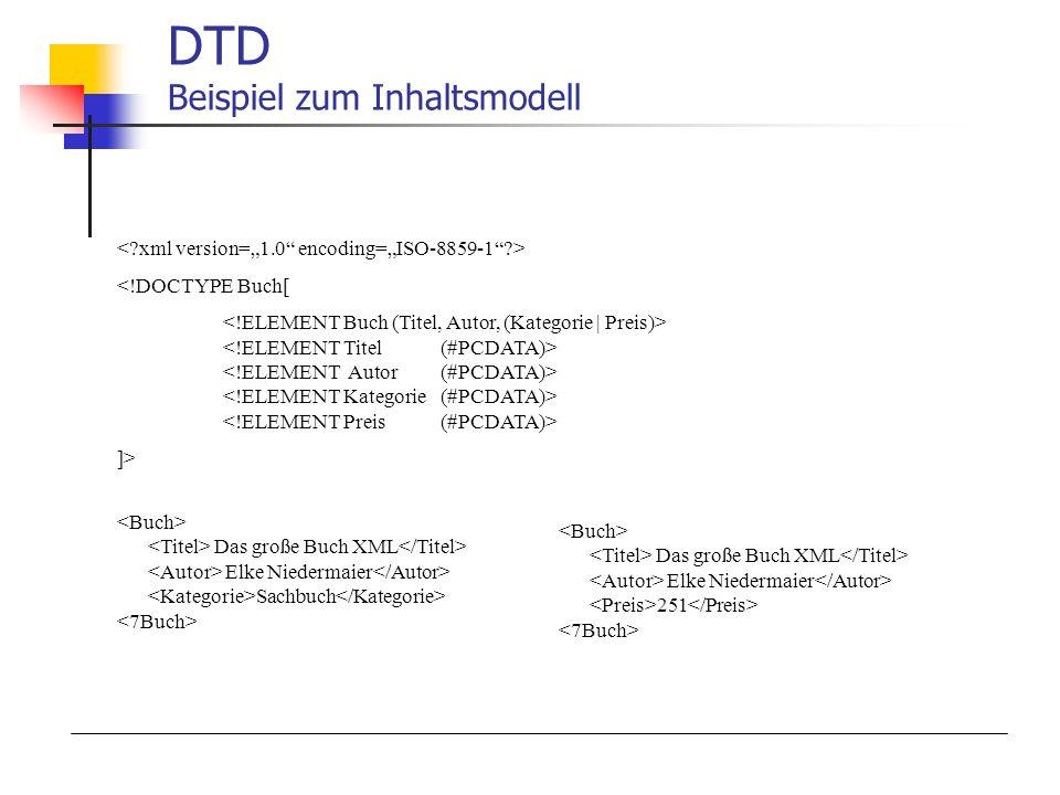 <!DOCTYPE Buch[ ]> DTD Beispiel zum Inhaltsmodell Das große Buch XML Elke Niedermaier Sachbuch Das große Buch XML Elke Niedermaier 251