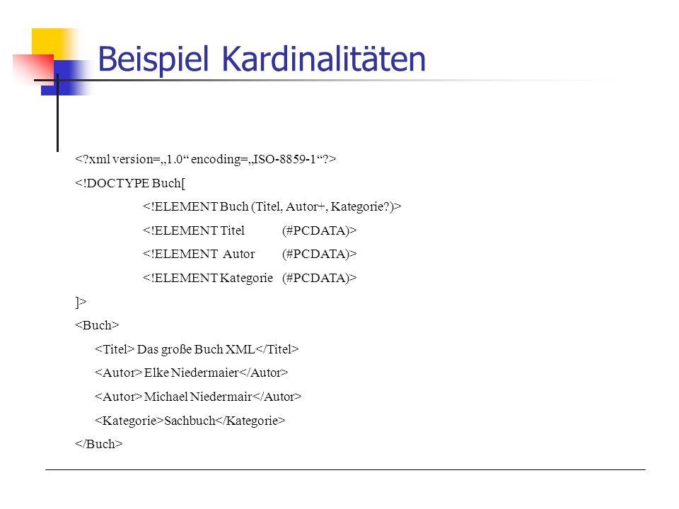 Beispiel Kardinalitäten <!DOCTYPE Buch[ ]> Das große Buch XML Elke Niedermaier Michael Niedermair Sachbuch