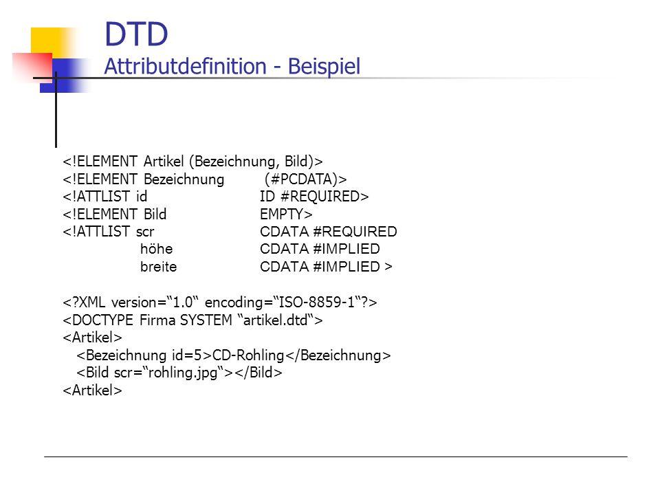 DTD Attributdefinition - Beispiel CD-Rohling