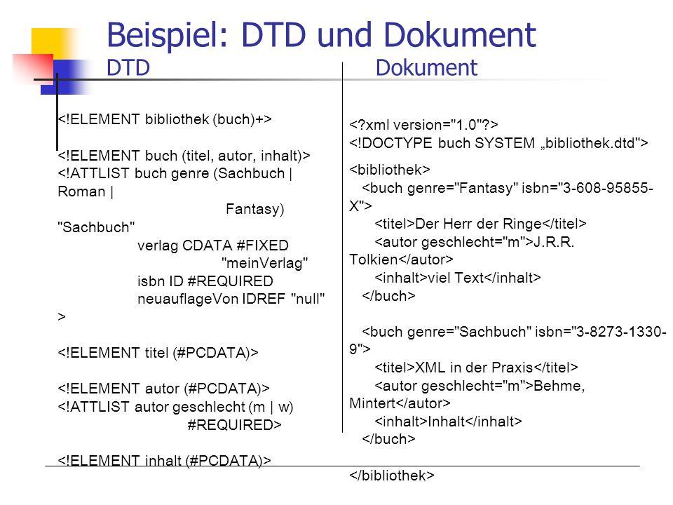 Beispiel: DTD und Dokument DTDDokument Der Herr der Ringe J.R.R. Tolkien viel Text XML in der Praxis Behme, Mintert Inhalt