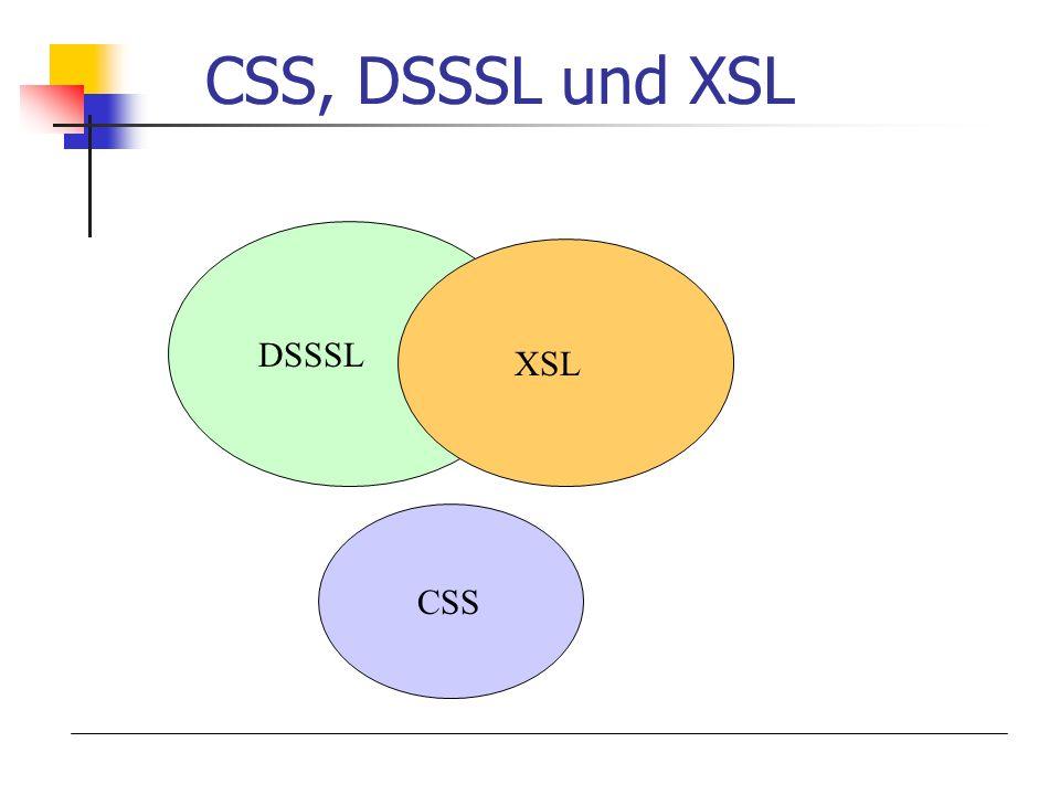 CSS, DSSSL und XSL DSSSL XSL CSS