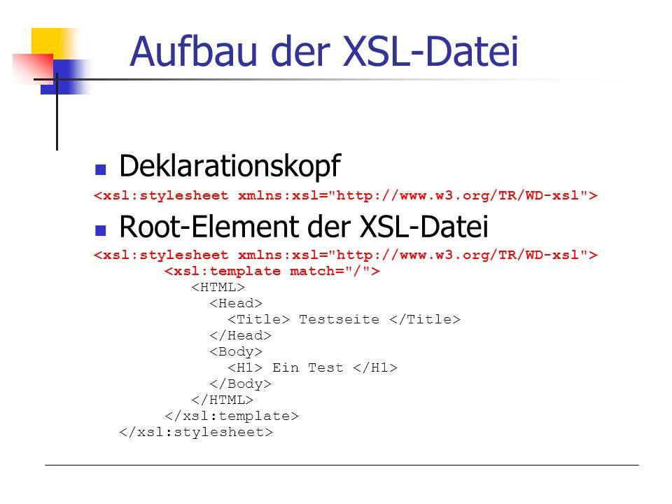 Aufbau der XSL-Datei Deklarationskopf Root-Element der XSL-Datei Testseite Ein Test