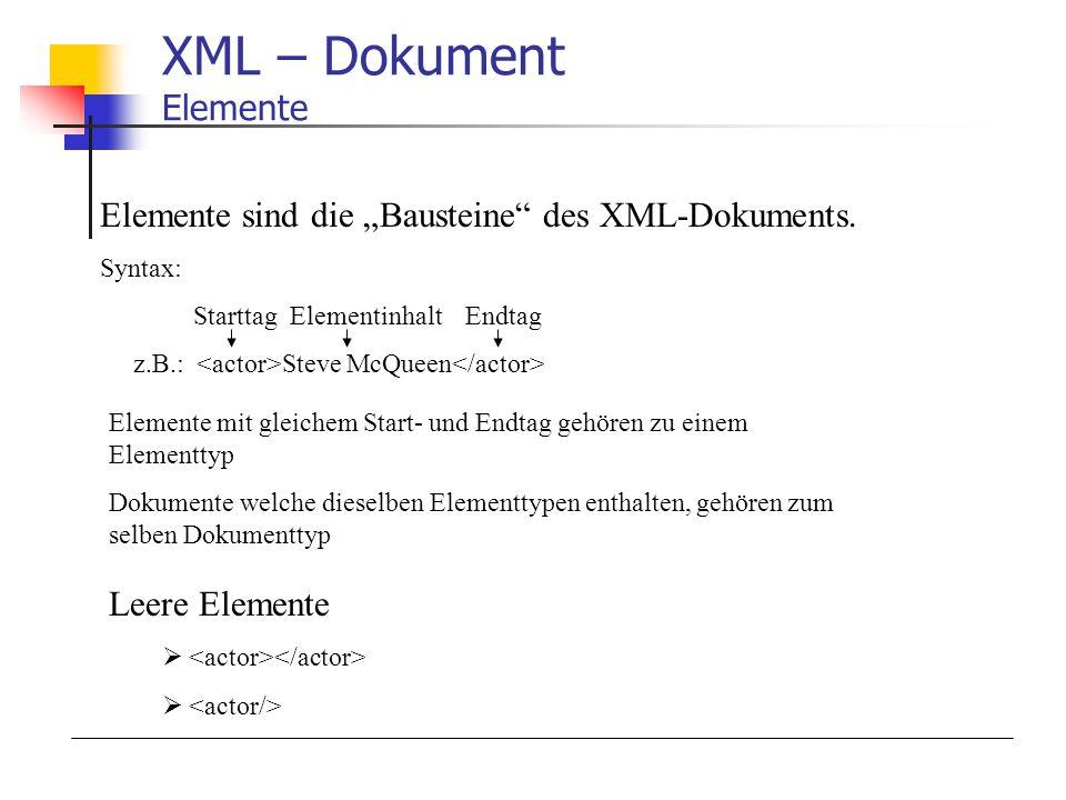 XML – Dokument Elemente Elemente sind die Bausteine des XML-Dokuments. Syntax: Starttag Elementinhalt Endtag z.B.: Steve McQueen Elemente mit gleichem
