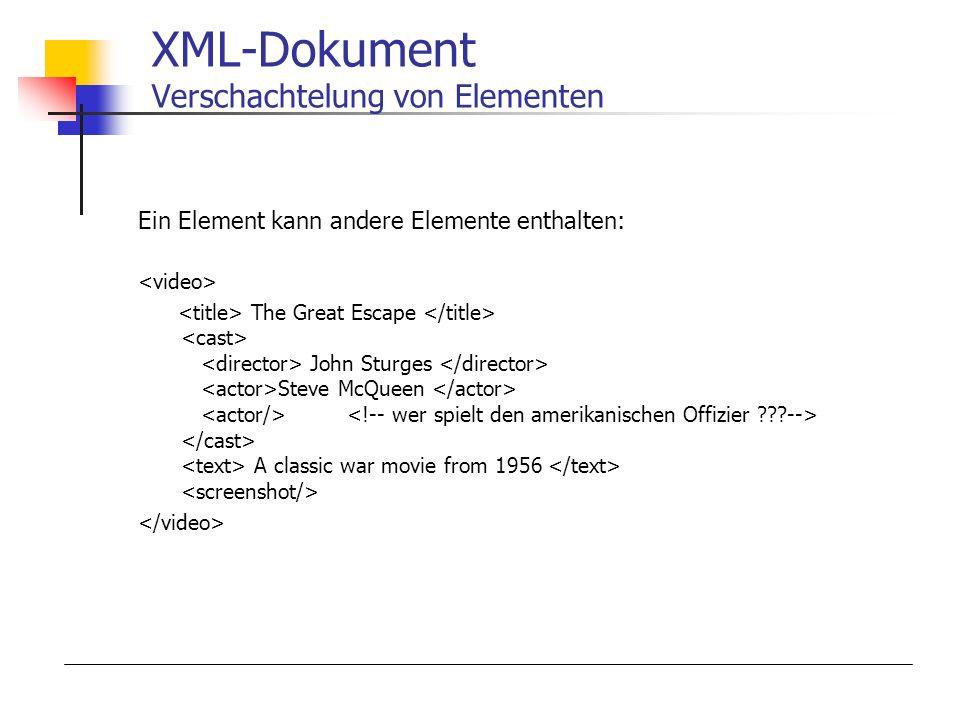 XML-Dokument Verschachtelung von Elementen Ein Element kann andere Elemente enthalten: The Great Escape John Sturges Steve McQueen A classic war movie from 1956