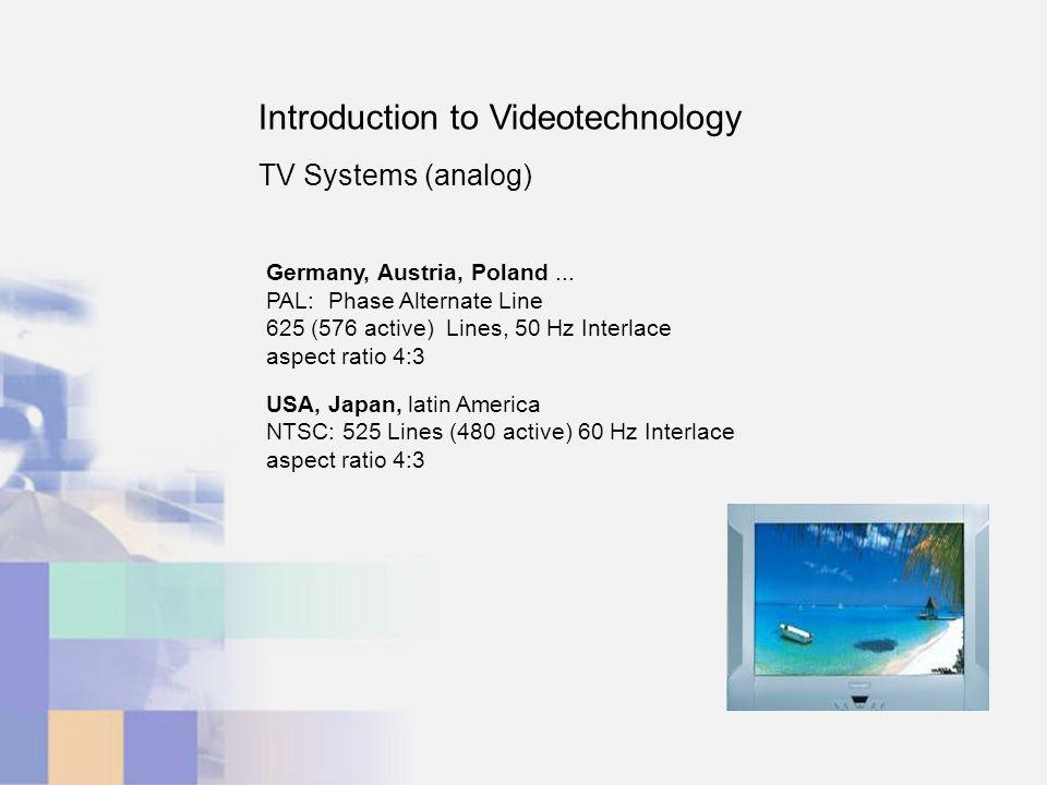 Introduction to Videotechnology TV Systems (analog) Germany, Austria, Poland... PAL: Phase Alternate Line 625 (576 active) Lines, 50 Hz Interlace aspe