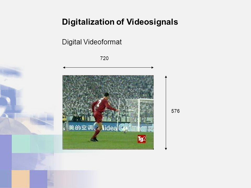 576 720 Digital Videoformat Digitalization of Videosignals