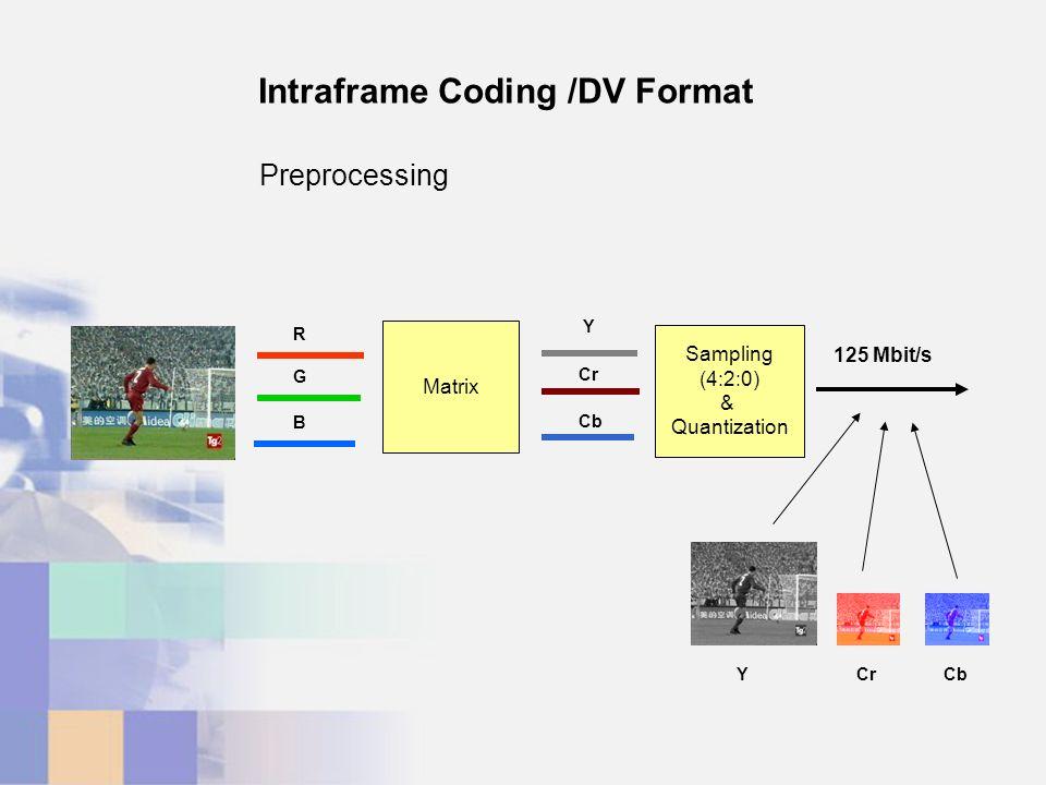 Matrix R G B Y Cr Cb Sampling (4:2:0) & Quantization 125 Mbit/s YCrCb Intraframe Coding /DV Format Preprocessing