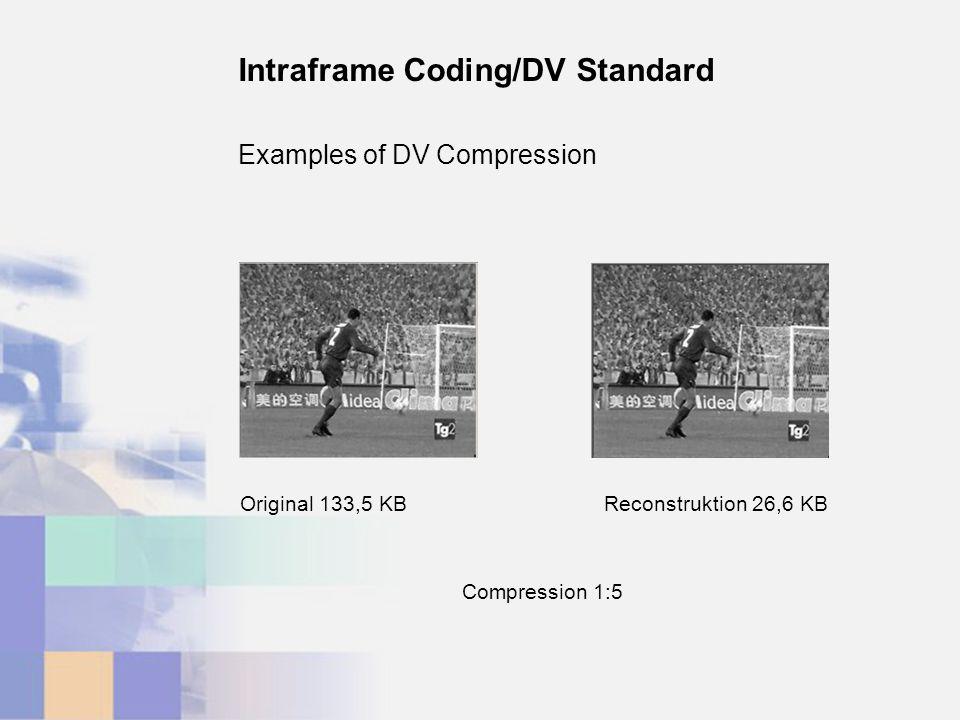 Examples of DV Compression Intraframe Coding/DV Standard Reconstruktion 26,6 KBOriginal 133,5 KB Compression 1:5