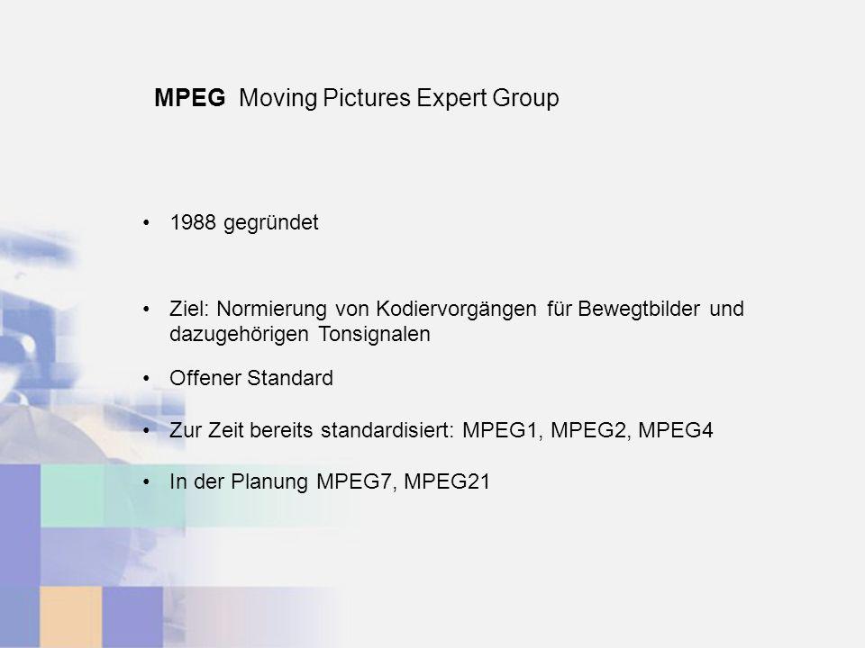 MPEG Moving Pictures Expert Group 1988 gegründet Ziel: Normierung von Kodiervorgängen für Bewegtbilder und dazugehörigen Tonsignalen Offener Standard Zur Zeit bereits standardisiert: MPEG1, MPEG2, MPEG4 In der Planung MPEG7, MPEG21