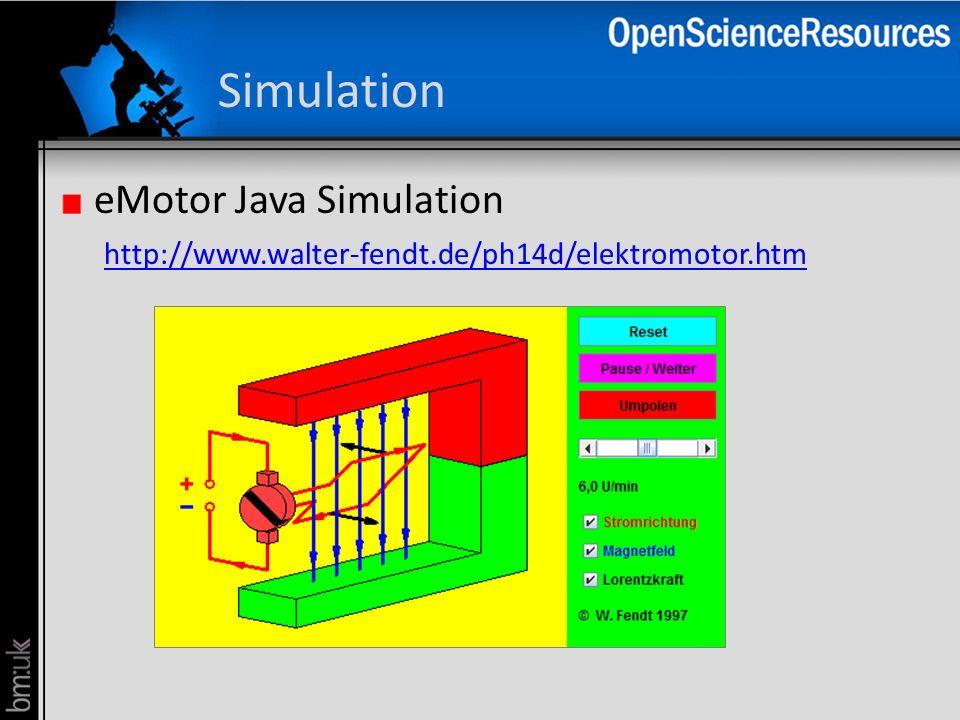 Simulation eMotor Java Simulation http://www.walter-fendt.de/ph14d/elektromotor.htm http://www.walter-fendt.de/ph14d/elektromotor.htm