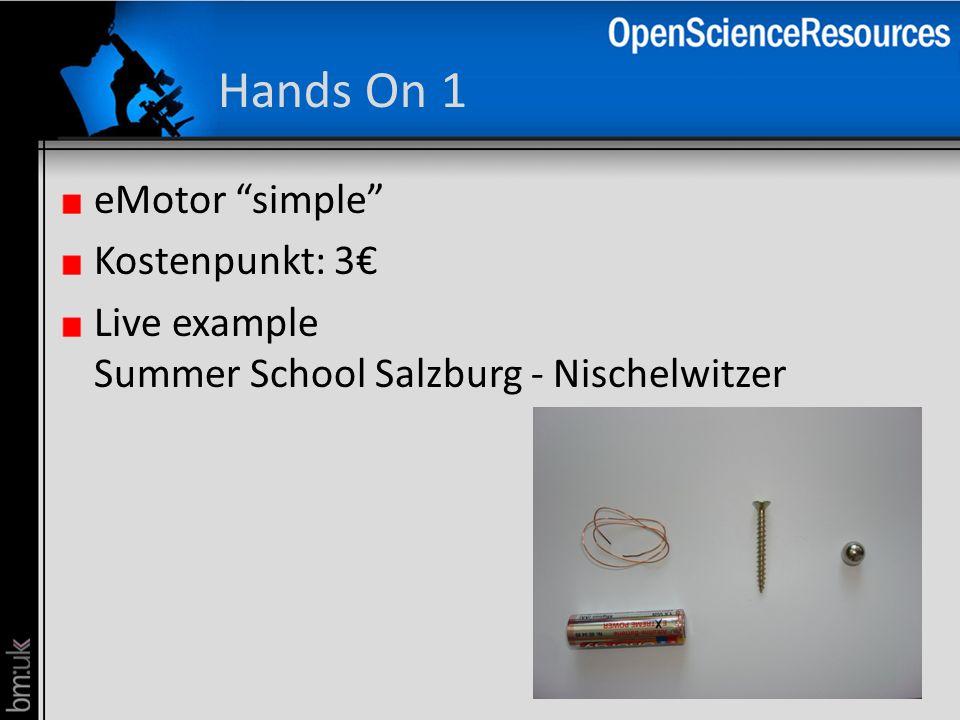 Hands On 1 eMotor simple Kostenpunkt: 3 Live example Summer School Salzburg - Nischelwitzer