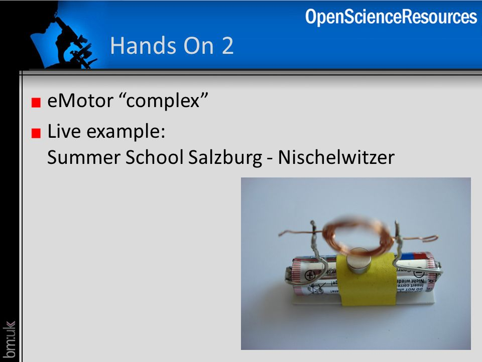 Hands On 2 eMotor complex Live example: Summer School Salzburg - Nischelwitzer
