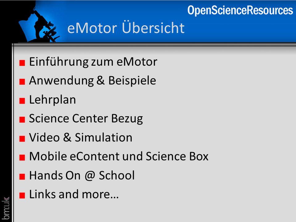 eMotor Übersicht Einführung zum eMotor Anwendung & Beispiele Lehrplan Science Center Bezug Video & Simulation Mobile eContent und Science Box Hands On