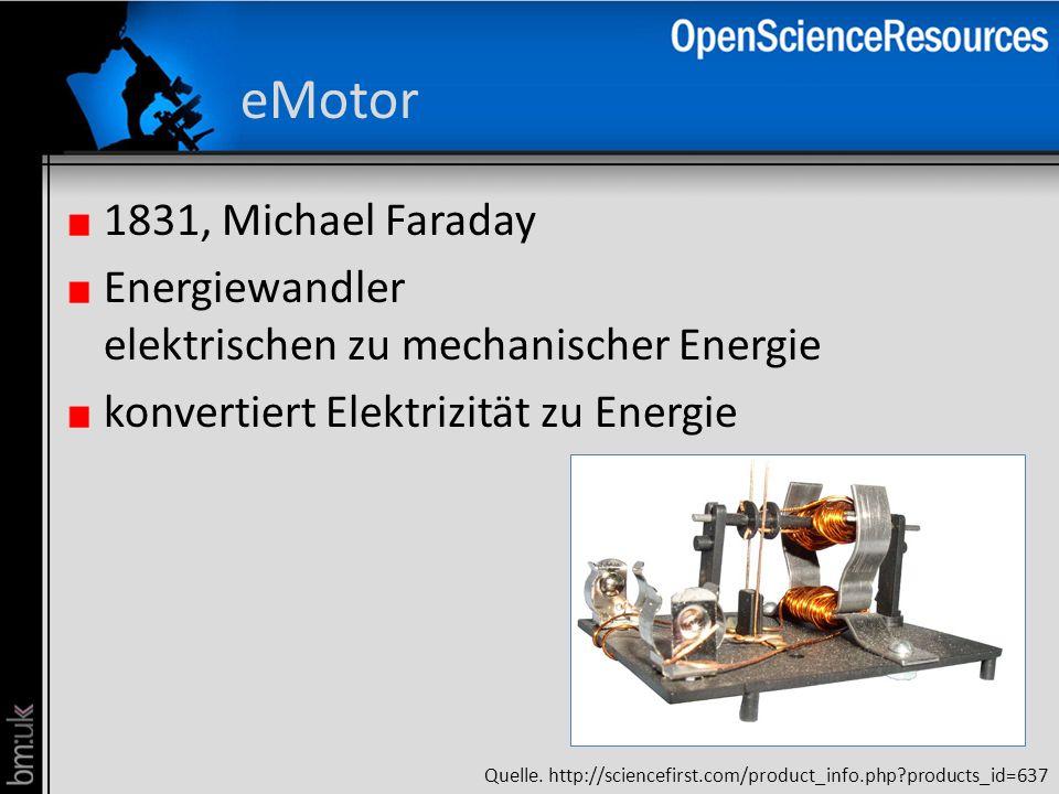 eMotor 1831, Michael Faraday Energiewandler elektrischen zu mechanischer Energie konvertiert Elektrizität zu Energie Quelle. http://sciencefirst.com/p