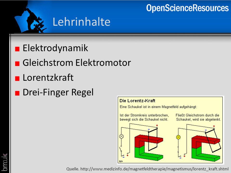 Lehrinhalte Elektrodynamik Gleichstrom Elektromotor Lorentzkraft Drei-Finger Regel Quelle. http://www.medizinfo.de/magnetfeldtherapie/magnetismus/lore