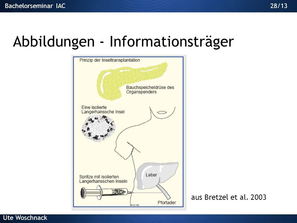 27/29Bachelorseminar IAC Ute Woschnack 27/13 Abbildungen Abbildung als Aussage – Informationsträger –Gross –Zentral, leicht links Bebilderung – Emotio
