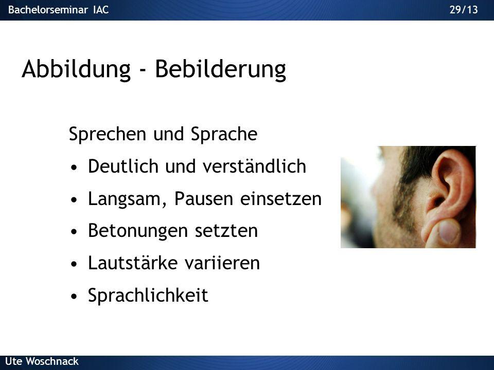 28/29Bachelorseminar IAC Ute Woschnack 28/13 Abbildungen - Informationsträger aus Bretzel et al. 2003
