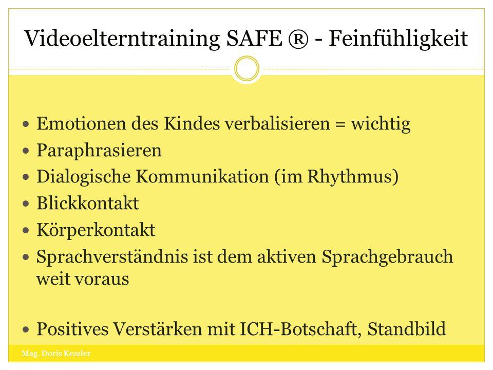 Videoelterntraining SAFE ® - Feinfühligkeit Emotionen des Kindes verbalisieren = wichtig Paraphrasieren Dialogische Kommunikation (im Rhythmus) Blickk