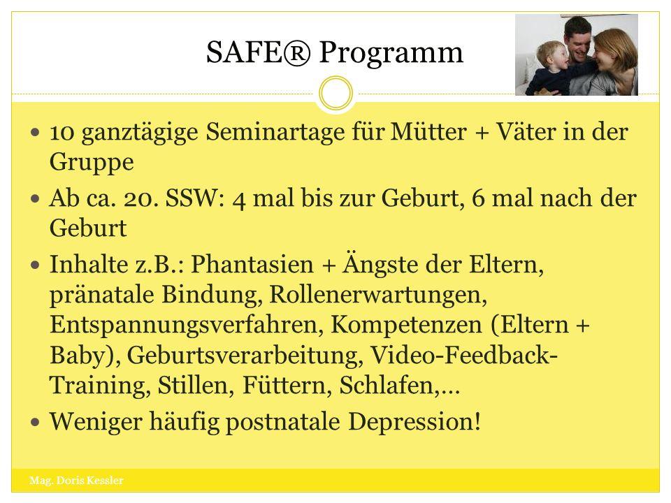 SAFE® Programm 10 ganztägige Seminartage für Mütter + Väter in der Gruppe Ab ca. 20. SSW: 4 mal bis zur Geburt, 6 mal nach der Geburt Inhalte z.B.: Ph