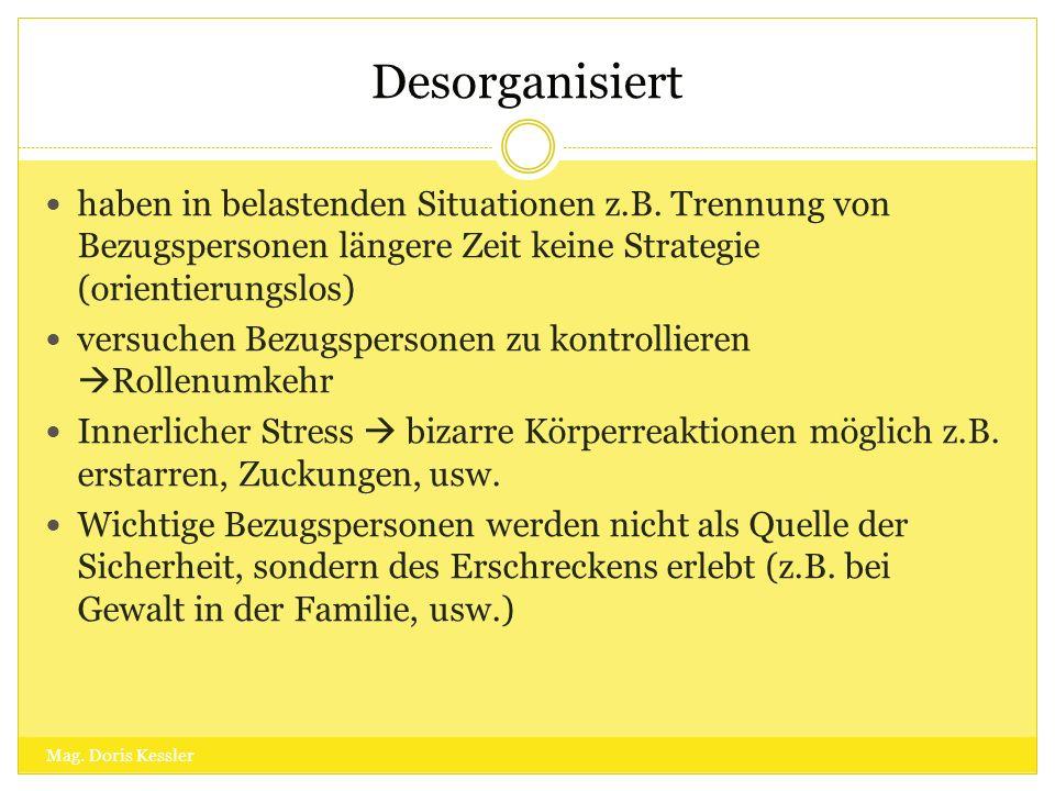 Desorganisiert haben in belastenden Situationen z.B. Trennung von Bezugspersonen längere Zeit keine Strategie (orientierungslos) versuchen Bezugsperso