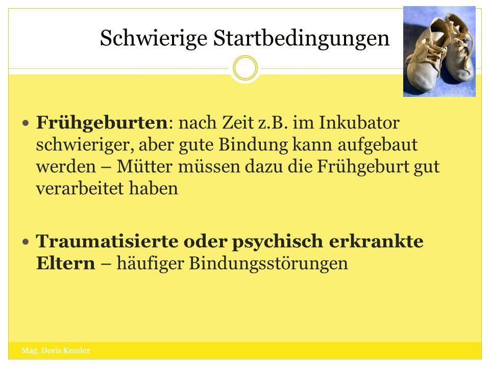 Schwierige Startbedingungen Mag. Doris Kessler Frühgeburten: nach Zeit z.B. im Inkubator schwieriger, aber gute Bindung kann aufgebaut werden – Mütter
