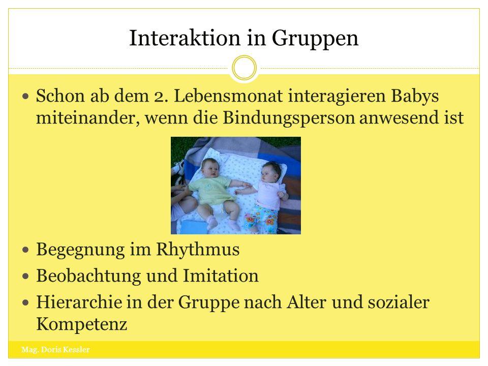 Interaktion in Gruppen Schon ab dem 2. Lebensmonat interagieren Babys miteinander, wenn die Bindungsperson anwesend ist Begegnung im Rhythmus Beobacht