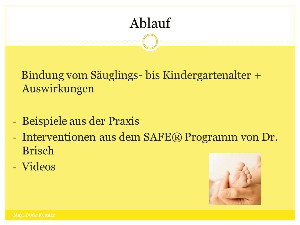 Ablauf Mag. Doris Kessler Bindung vom Säuglings- bis Kindergartenalter + Auswirkungen - Beispiele aus der Praxis - Interventionen aus dem SAFE® Progra