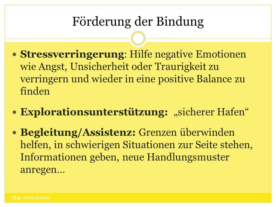 Förderung der Bindung Stressverringerung: Hilfe negative Emotionen wie Angst, Unsicherheit oder Traurigkeit zu verringern und wieder in eine positive