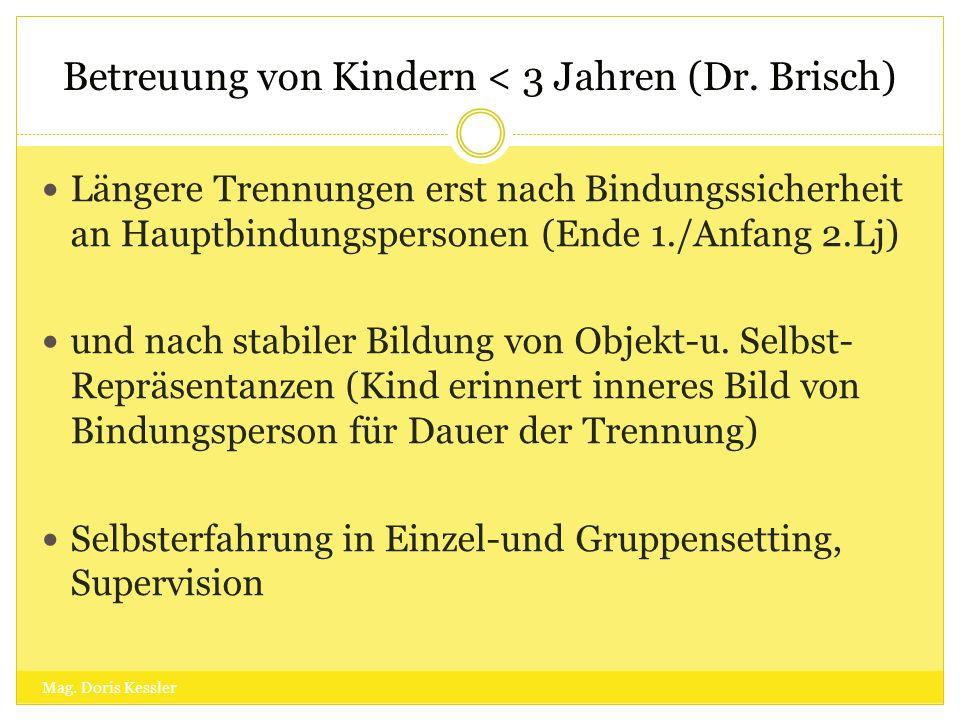 Betreuung von Kindern < 3 Jahren (Dr. Brisch) Längere Trennungen erst nach Bindungssicherheit an Hauptbindungspersonen (Ende 1./Anfang 2.Lj) und nach