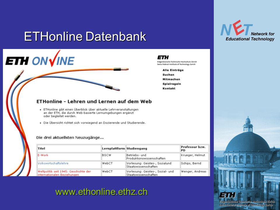 ETHonline Datenbank www.ethonline.ethz.ch