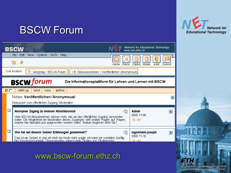BSCW Forum www.bscw-forum.ethz.ch