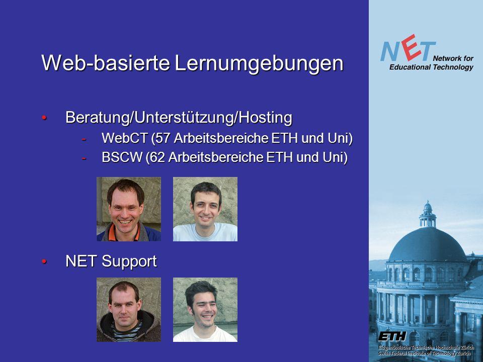 Web-basierte Lernumgebungen Beratung/Unterstützung/Hosting Beratung/Unterstützung/Hosting -WebCT (57 Arbeitsbereiche ETH und Uni) -BSCW (62 Arbeitsbereiche ETH und Uni) NET Support NET Support